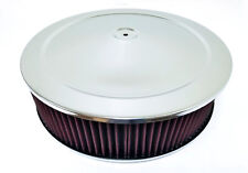 """14"""" x 4"""" Chrome Round Air Cleaner Flat Base Washable Filter Chevy Ford"""