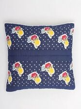 Anthropologie Sham JARDIN Pillow EURO Quilted Floral Cotton Sateen Dots Navy NEW