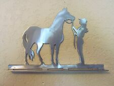 Cowgirl And Horse Mailbox Topper ( No Name) Steel Raw Metal Finish