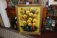 Vintage Oil Painting On Board Bouquet Of Flowers Signed Mira Mid Century Modern