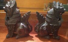Hand carved  wooden dragons. 6 3/4 inches tall comes in a pair.