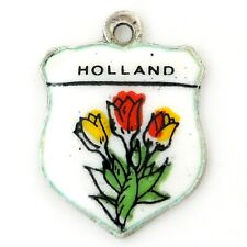 Vintage Enamel HOLLAND TULIP FLOWER SHIELD 835 Silver Souvenir Travel Charm