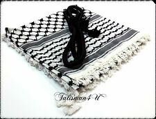 SHEMAGH SCARF Keffiyeh Kafiya Black Arab Head Neck Checkered Shawl & Agal Set