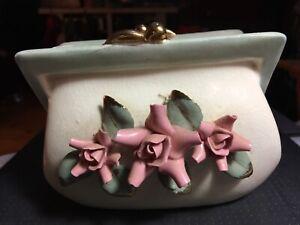 Vintage Napco Ceramic Pocketbook Purse Planter Pink Flowers Green Leaves #1L2161