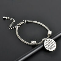 Silver Plated Family Bangle Bracelet Love Words Charm Beads Women Jewelry Gifts