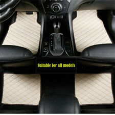 4Pcs Beige PU Leather Auto Car Floor Mats Front+Rear Interior Mat Carpet Liner