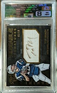 Tom Brady 2015 Black Gold Sizeable Signatures 05/10 Game-Worn Material  8 Grade
