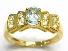 BLUE TOPAZ & WHITE TOPAZ RING IN 14K YELLOW GOLD OVER 925 STERLING SILVER SS122