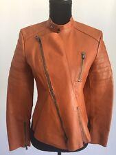 NWT 3.1 Phillip Lim Peplum Cognac Leather Motorcycle Jacket Coat Size 4 $1750