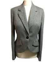 Classic Ladies UK 12/14 Tailored Jacket Crop Blazer Work Melange Wool Silk Mix