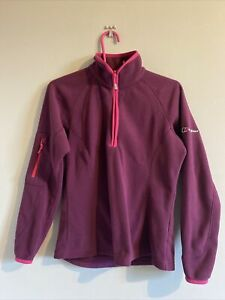 Berghaus Ladies Purple & Pink 1/4 Zip Fleece Jumper UK 10
