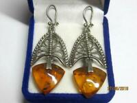 Vintage Natural Baltic Amber USSR Filigree Sterling Silver 925 Woman Earrings