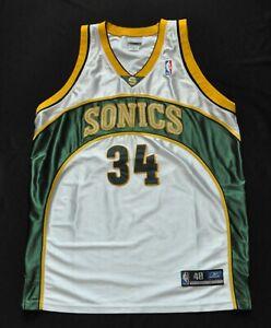 RAY ALLEN SEATTLE SUPER SONICS REEBOK AUTHENTIC JERSEY WHITE NBA MEN SEWN 48 XL