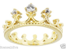 18K YELLOW GOLD OVER STERLING SILVER GENUINE GLACIER TOPAZ PRINCESS CROWN RING 7