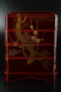 Q1620 :Japanese Old Wooden Lacquer ware FOOD BOXES Jubako Lunch Box w/signed box