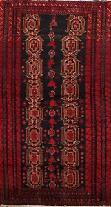 Vintage Balouch Geometric Tribal Area Rug Hand-knotted Wool Classic Oriental 3x5