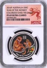 2016 P Australia PROOF COLORIZED Silver Lunar Year of Monkey NGC PF69 1/2oz Coin