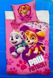 Wende Bettwäsche-Set Paw Patrol 135x200 80x80 Pink