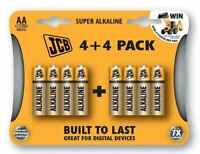 8 x JCB Super Alkaline AA Battery Batteries