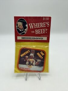 VINTAGE NOS WENDY'S RESTAURANT 1984 WHERE'S THE BEEF IRON ON PATCH HTF