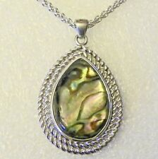 Sterling Silver Large Pear Shaped Abalone Pendant and Sterling Silver Chain 18 ""