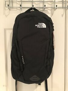 NWT The North Face Vault TNF Black Backpack Laptop Sleeve White Logo $55