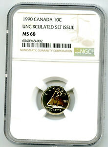 1990 CANADA 10 CENT NGC MS68 UNCIRCULATED SET ISSUE DIME COIN POP=1 RARE