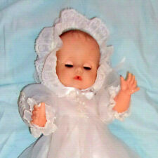 "1959 Eegee BABY CARRIE 16"" drink wet sleep eye molded hair doll christening gown"