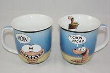 Kaffeebecher Wattwurm Moin schon wach Hösti Becher Tasse Cartoon Comic