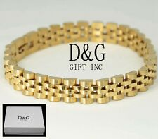 "DG Men's 8.5""Bracelet Gold Stainless-Steel,10mm Watch Band Chain Unisex + Box"