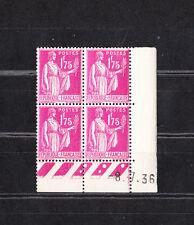 timbre France bloc de 4 coin daté  type  Paix  1f75  rose lilas    num: 289  **