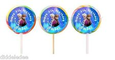 30 Disney Frozen Stickers Lollipop Labels Party Favors 1 1/2 inch Personalize