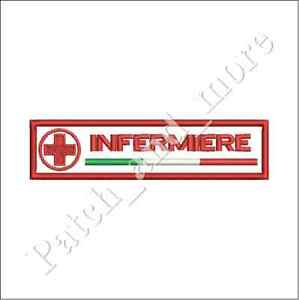 [Patch] INFERMIERE CRI CROCE ROSSA ITALIANA cm 12 x 3 A STRAPPO ricamo -1183