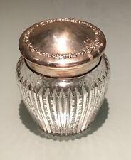 Vintage Antique Frank M.Whiting Sterling Silver Lidded Crystal Cut Jar Vase Old