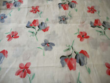 Antique Sweet Pea Floral Cotton Fabric ~  Pink Red Gray Blue Black Green