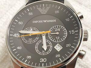 Emporio Armani Date Chronograph Black Watch Stainless Steel Rubber Bracelet Men