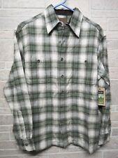 NEW St Johns Bay Mens Size Small Brawny Flannel Shirt Green Beige Plaid NWT