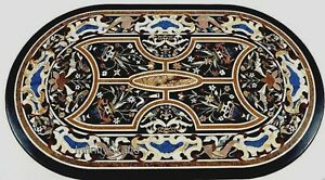 Floral Pattern Inlaid Dining Table Top Oval Shape Restaurant Table 30 x 48 Inch