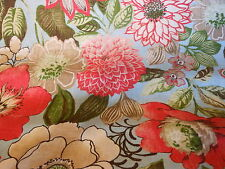 FRESH VIBRANT FLORAL SKY BLUE  PRINTED LINEN DRAPERY OR UPHOLSTERY FABRIC