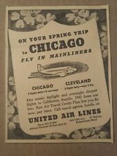 1941 United Airlines to Chicago Ad Spring Trip