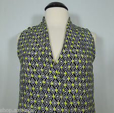 VIOLET & CLAIRE Printed Black-Yellow Surplice Top size S