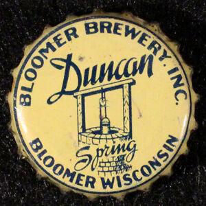 DUNCAN SPRING BLACK/YELLOW CORK LINED BEER BOTTLE CAP BLOOMER WISCONSIN CROWN WI