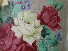 Antique Vintage Huge Roses Barkcloth Fabric~Rose Pink Aqua Citrus Periwinkle
