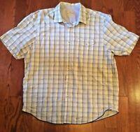 Tommy Bahama Men's Sz XL Blue Green Plaid Button Front Short Sleeve Shirt