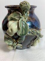 Studio Art Brown/Blue Marble Glazed Pottery w/Fruit &Leaves Decor Vase Signed