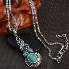 New Women Retro Bohemia Silver Plated Turquoise Stone Crystal Pendant Necklace