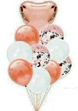 10 LARGE ROSE GOLD HEART & CONFETTI FILLED BALLOONS VALENTINES DAY PARTY