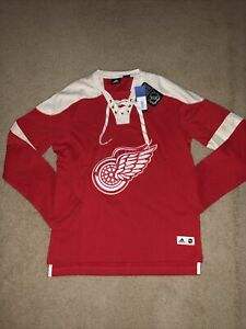 Adidas Detroit Red Wings Men's Longsleeve Jersey Crew Sweatshirt Size M NEW