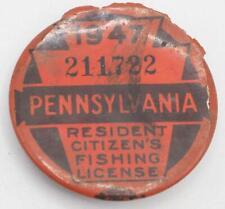 1947 Pa Pennsylvania Fishing License Resident Button Vintage