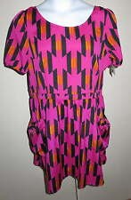 NEW Allen B Schwartz Ladies DRESS Sz 16 Peekaboo Back Pink Geometric Bright